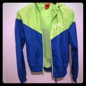 Nike vintage windbreaker neon green blue small